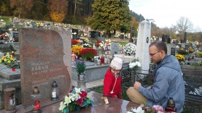 Hrob Miroslava Barana na cintoríne v Slovenskej Ľupči (neďaleko Banskej Bystrice) navštívil redaktor Ivo Novák aj s dcérou Miriam